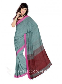 STRIPES POM POM MAROON, MAGENTA, LIGHT BLUE LINEN SAREE