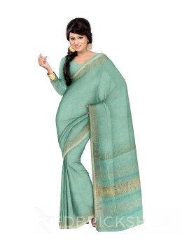 PLAIN STRIPES POMPOM LIGHT BLUE, WHITE ZARI LINEN SAREE