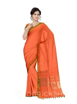 PLAIN STRIPES POMPOM SAFFRON ORANGE, GREEN ZARI LINEN SAREE