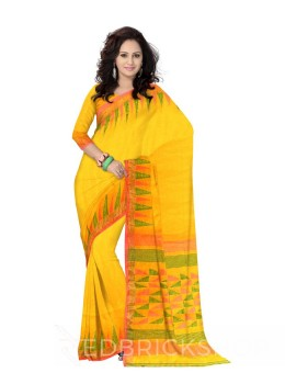TEMPLE STRIPES POMPOM YELLOW, GREEN, PINK ZARI LINEN SAREE