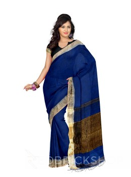 PLAIN STRIPES TASSEL DARK BLUE ZARI LINEN SAREE