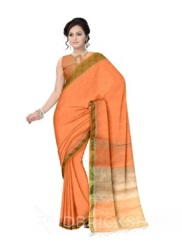 PLAIN STRIPES TASSEL LIGHT ORANGE ZARI LINEN SAREE