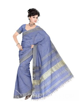 PLAIN STRIPES POMPOM BLUE ZARI LINEN SAREE