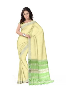 PLAIN STRIPES POMPOM CREAM, GREEN ZARI LINEN SAREE