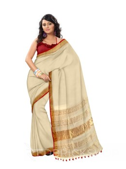 PLAIN STRIPES POMPOM CREAM, RED ZARI LINEN SAREE