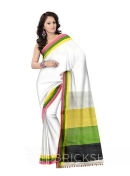 PLAIN BROAD STRIPES POMPOM WHITE MULTI LINEN SAREE
