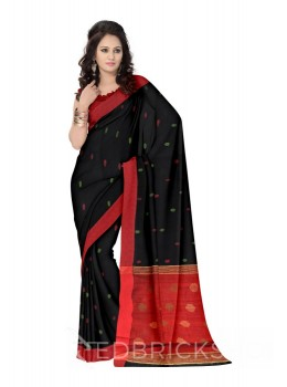 HEXAGON POMPOM BLACK, RED, GREEN LINEN SAREE