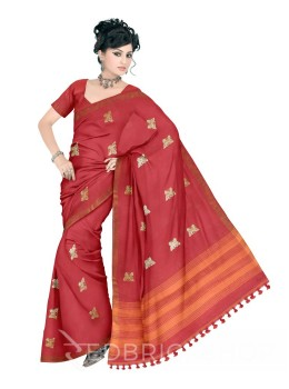 BUTTERFLY POMPOM RED, ORANGE ZARI LINEN SAREE