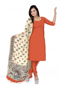 MADHUBANI FLOWER BIRD PALKI CREAM, ORANGE KHADI SILK HANDLOOM DUPATTA