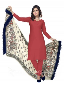 MADHUBANI FLOWER BIRD PALKI CREAM, BLUE KHADI SILK HANDLOOM DUPATTA