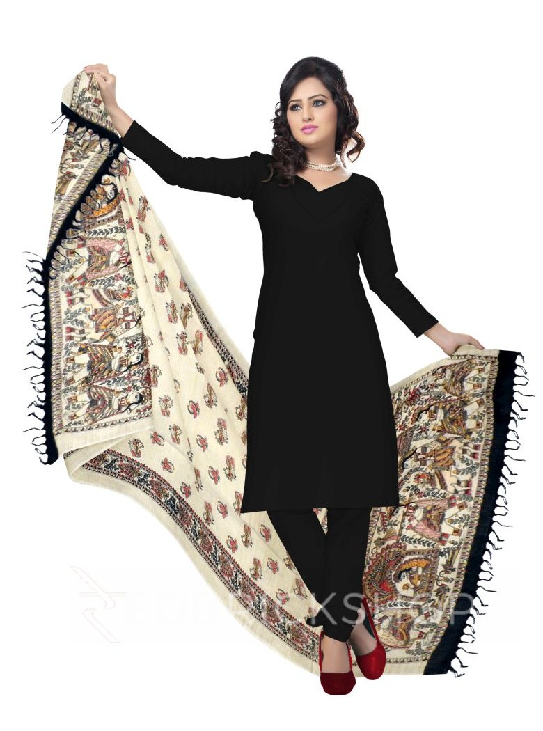 MADHUBANI FLOWER BIRD PALKI CREAM, BLACK KHADI SILK HANDLOOM DUPATTA