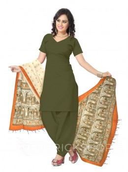MADHUBANI SMALL SQUARE TWO LADIES CREAM, YELLOW, GREEN KHADI SILK HANDLOOM DUPATTA
