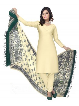 MADHUBANI FLOWER BIRD PALKI CREAM, GREEN KHADI SILK HANDLOOM DUPATTA