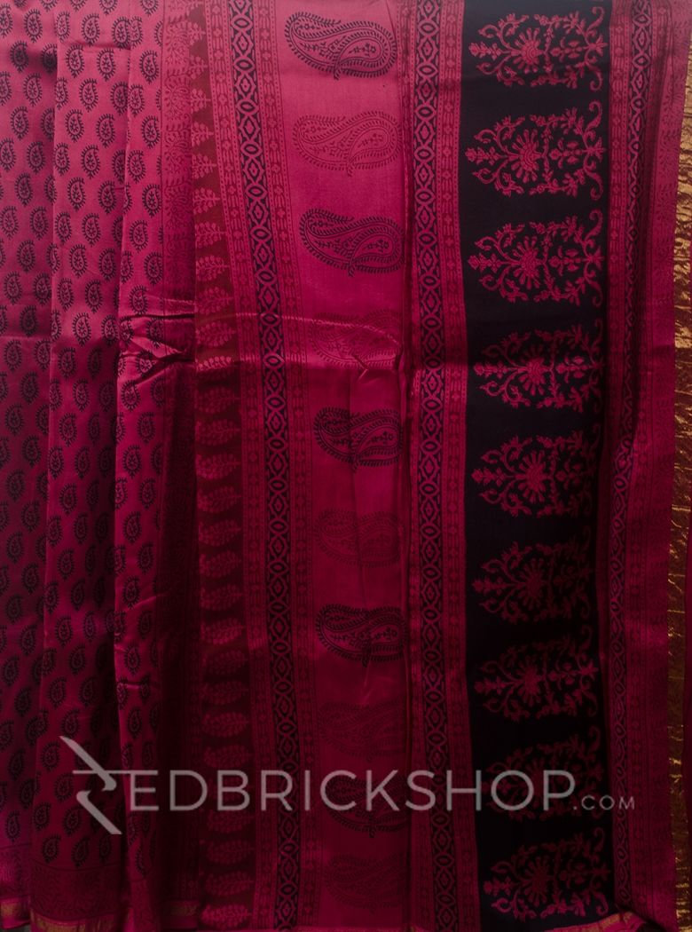 MAHESHWARI PAISLEY BIG MAROON-BLACK SAREE