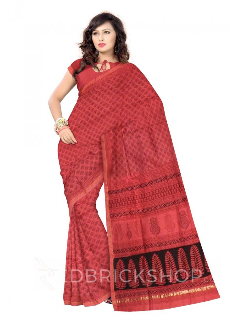 MAHESHWARI ZIGZAG ROSE-BLACK SAREE