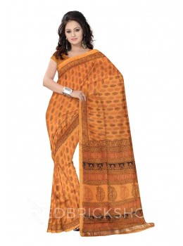 MAHESHWARI LEAF BIG MUSTARD-BLACK-MAROON SAREE