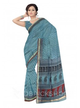 MAHESHWARI TREE TEAL-BLACK SAREE
