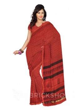 MAHESHWARI TREE MAROON-BLACK SAREE