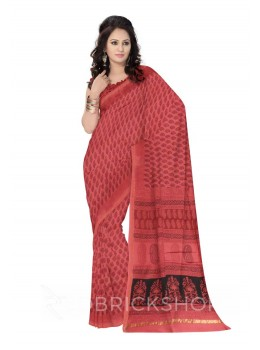 MAHESHWARI PAISLEY ROSE-BLACK SAREE