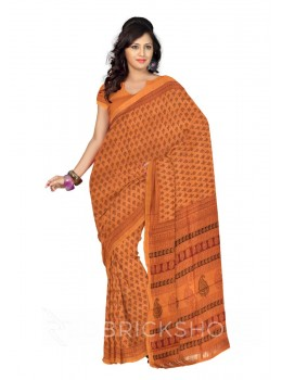 MAHESHWARI TEMPLE MUSTARD-BLACK SAREE