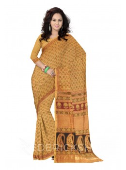 MAHESHWARI LEAF SMALL MUSTARD-BLACK-MAROON SAREE