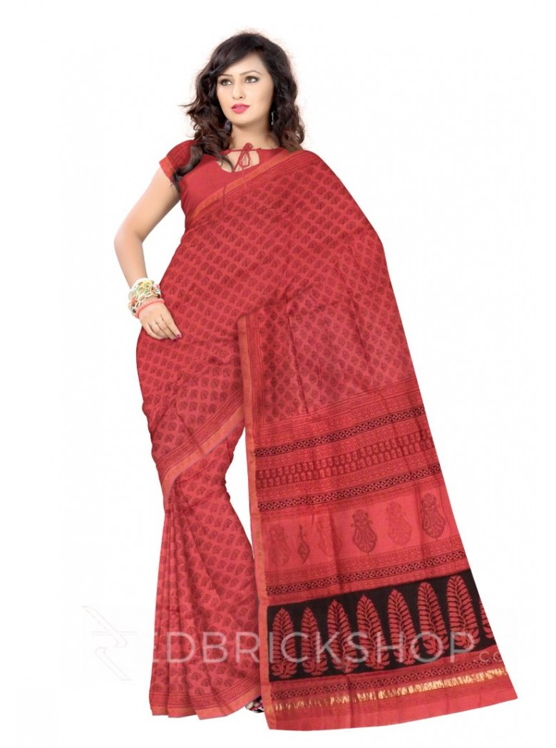 MAHESHWARI LEAF ROSE-BLACK SAREE