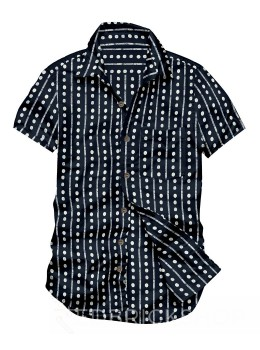 BLOCK PRINT BROAD STRIPE DOT INDIGO, WHITE MENS COTTON SHIRT - SIZE 44