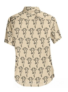 BLOCK PRINT COW HEAD CREAM, BLACK MENS COTTON SHIRT - SIZE 44
