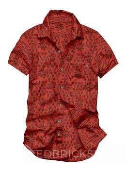 BLOCK PRINT FLOWER DASH RED, BLACK MENS COTTON SHIRT - SIZE 40