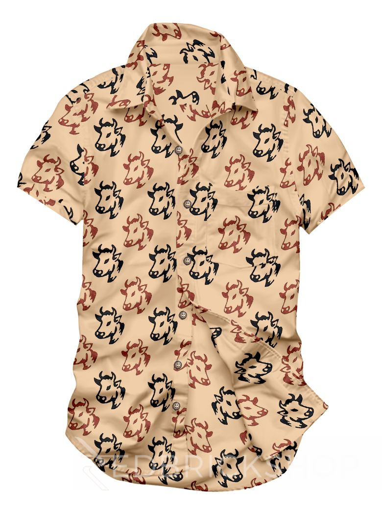 BLOCK PRINT COW HEAD CREAM, RUST, BLACK MENS COTTON SHIRT - SIZE 40