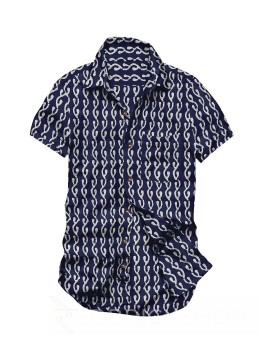 BLOCK PRINT CURLY LINK INDIGO, WHITE MENS COTTON SHIRT - SIZE 40