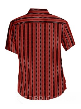 BLOCK PRINT CHECKS STRIPS RED, BLACK MENS COTTON SHIRT - SIZE 40