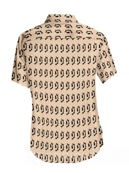 BLOCK PRINT FISH CREAM, BLACK MENS COTTON SHIRT - SIZE 42