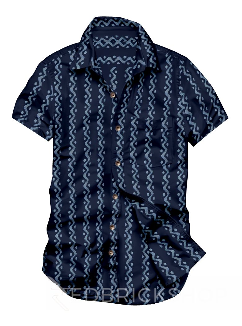 BLOCK PRINT ZIGZAG DOT INDIGO, BLUE MENS COTTON SHIRT - SIZE 44