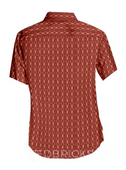 BLOCK PRINT PAPER CHAIN RED, BEIGE MENS COTTON SHIRT - SIZE 44