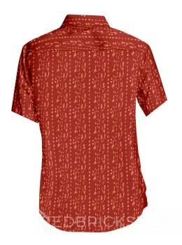 BLOCK PRINT BEL FORK RED, BEIGE MENS COTTON SHIRT - SIZE 44