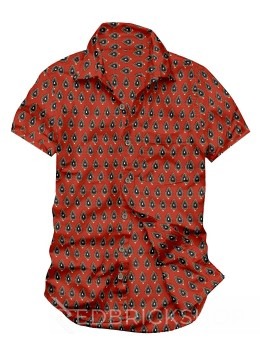 BLOCK PRINT FLAME RED, BLUE MENS COTTON SHIRT - SIZE 40