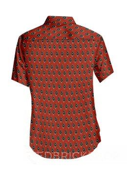 BLOCK PRINT FLAME RED, BLUE MENS COTTON SHIRT - SIZE 44