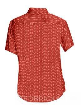 BLOCK PRINT SMALL LEAF RED, CREAM MENS COTTON SHIRT - SIZE 46