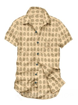 BLOCK PRINT FERN BEIGE, KHAKI MENS COTTON SHIRT - SIZE 46