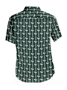 BLOCK PRINT BIRD GREEN, CREAM MENS COTTON SHIRT - SIZE 46