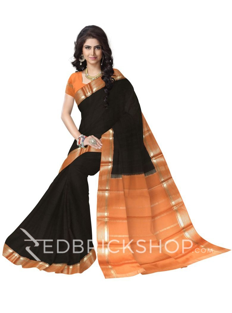 PLAIN STRIPE BORDER BLACK, ORANGE, GOLD MYSORE SILK SAREE