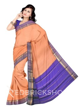 PLAIN STRIPE BORDER PEACH, PURPLE, GOLD MYSORE SILK SAREE