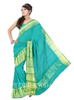 BROAD STRIPE BORDER GREEN, GOLD MYSORE SILK SAREE
