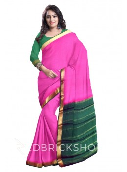 PLAIN TRIANGLE BORDER FUCHSIA, PINK, GREEN, GOLD MYSORE SILK SAREE