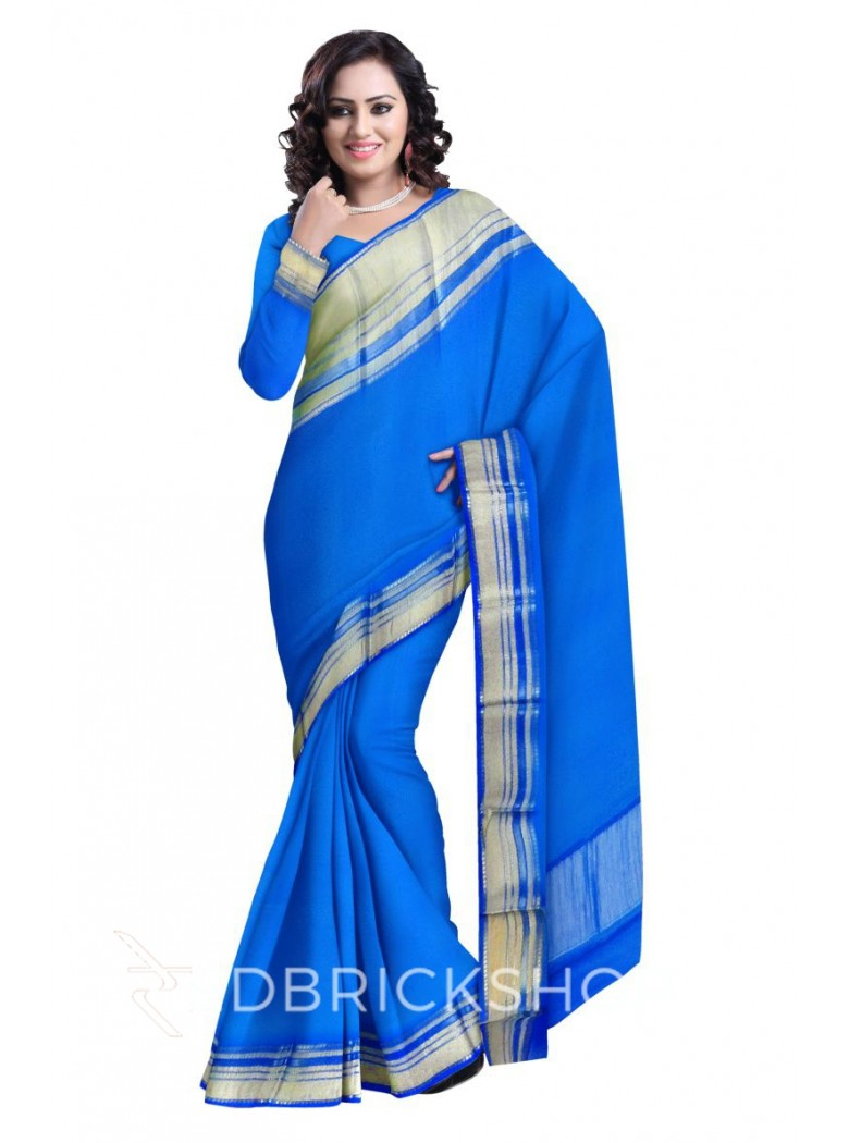 BROAD STRIPE BORDER BLUE, GOLD MYSORE SILK SAREE