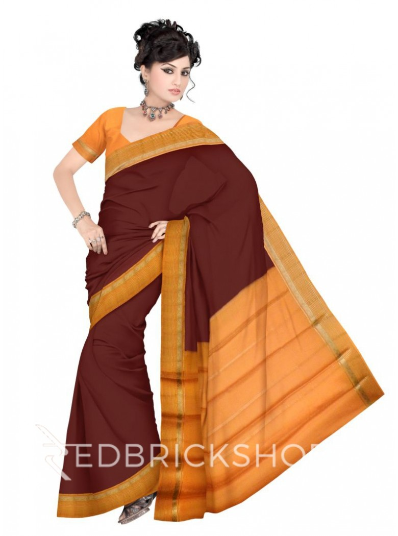 PLAIN STRIPE BORDER BROWN, MUSTARD YELLOW, GOLD MYSORE SILK SAREE