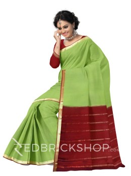 PLAIN PAISLEY BORDER MEHENDI GREEN, MAROON, GOLD MYSORE SILK SAREE