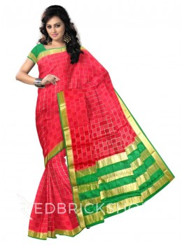 CHECKS FLORAL BORDER MAROON, GREEN, GOLD MYSORE SILK SAREE
