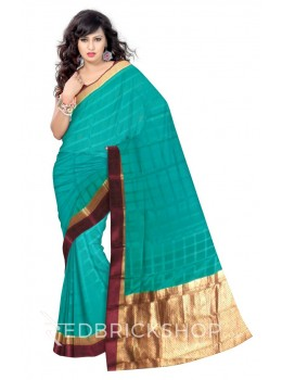 SELF CHECK FLORAL BORDER GREEN, MAROON, GOLD MYSORE SILK SAREE